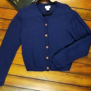 Vintage Limited 100% Wool Womens Navy Blue Cardiga